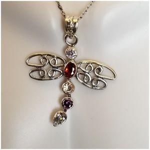 "Jewelry - Multi-Gem Dragonfly Pendant 1.5"" long"